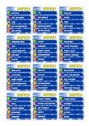English Worksheet: ||SKETCH GAME|| vocabulary practice ** 24 cards ** 120 words
