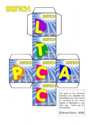 English Worksheet: ||SKETCH GAME|| vocabulary practice ** DICE to play