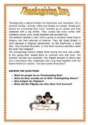 English teaching worksheets: Thanksgiving Day