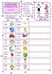 English Worksheet: ADJECTIVES  OF COMPARISON - Introduction 1st ws