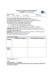 English Worksheet: Lesson plan for CELTA course