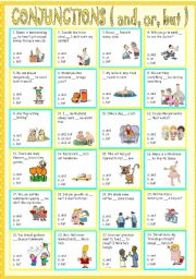 English Worksheet: conjunctions ( and, or, but )