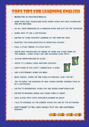 English Worksheets: top tips for learning english
