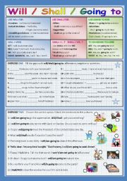 English Worksheet: WILL/SHALL/GOING TO
