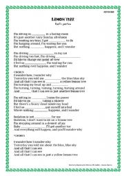 English Worksheet: LEMON TREE - 3 Exercises!