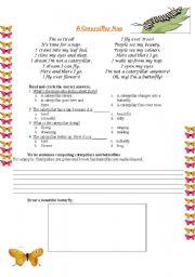 English Worksheets: A Caterpillar Nap