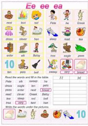 English Worksheets: Reding Ee ee ea
