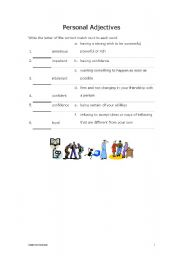 English worksheet: personal adjectives
