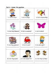 English Worksheets: is it a...? is he ....? are they ...?