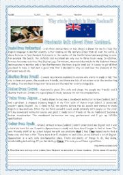 English Worksheet: TEST -A TOUR AROUND ENGLISH SPEAKING COUNTRIES - STUDENTS TALK ABOUT NEW ZEALAND-READING+LANGUAGE WORK+WRITING