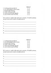 English Worksheets: Sentence or Sentence Fragment?
