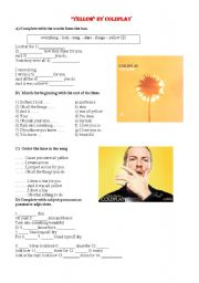 English Worksheet: Song YELLOW BY COLDPLAY
