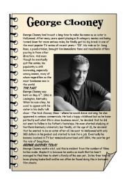 English Worksheets: George Clooney – reading comprehension.