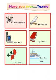 English Worksheets: Have you ever..?game