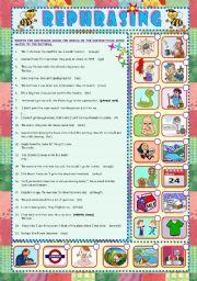 English Worksheet: REPHRASING