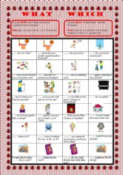 English Worksheets: QUESTIONS WORDS, WHAT WHICH