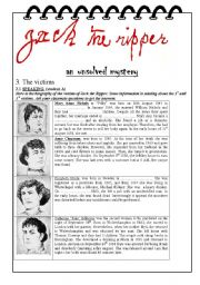 English Worksheets: Jack the ripper, the victims (part 3/3)