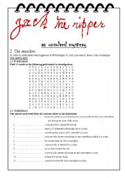 English Worksheets: Jack the ripper, the murders (part 2/3)