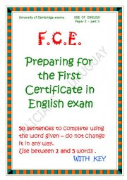 English Worksheets: FCE use of english