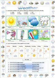 English Worksheet: The weather: Sunny, Windy, Rainy...