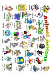 English Worksheet: Animal Actions: classroom poster 1