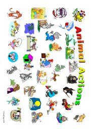 English Worksheet: Animal Actions: student poster 1