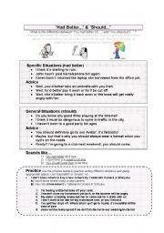 English Worksheet: Had Better & Should