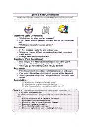 English Worksheet: Zero & First Conditional