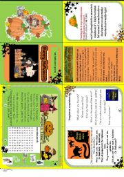 English Worksheet: Happy Halloween minibook ( 3 fun poems + activities)
