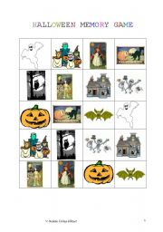 English Worksheet:           HALLOWEEN MEMORY GAME