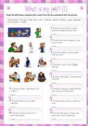 English Worksheet: WHAT IS MY JOB 1/2