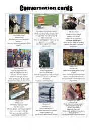 English Worksheet: Conversation cards 05