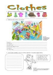 English Worksheet: Clothes - revision worksheet with key