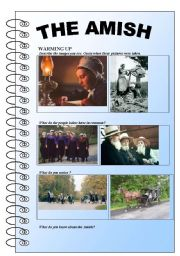 English Worksheet: The Amish (reading and comprehension, vocabulary, daily routine...)