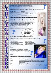English Worksheets: LADY GAGA Alejandro LISTENING song-based activity (FULLY EDITABLE AND KEY INCLUDED!!!)