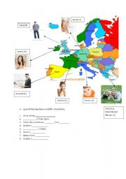 English Worksheet: countries,nationalities and hobbies