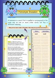 English Worksheet: Homonym Invasion 2