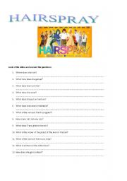 English Worksheet: Hairspray 2