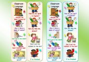 English Worksheet: Bookmarks with Classroom Language for kids