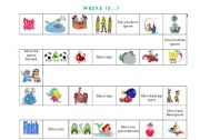 English Worksheet: Prepositions of Place game + Crossword