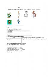 English worksheet: Quiz  jobs,to be,farm life,my your his her etc.