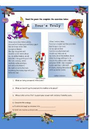 English Worksheets: READING COMPREHENSION - YOUR�S TRULY