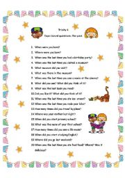 English Worksheets: Trinity 4 subject area questions : The Past