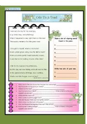 English Worksheets: Ode to a Toad