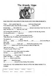 English Worksheets: the greedy hippo