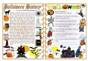 English Worksheet: Halloween History - Reading Comprehension, Vocabulary & Grammar [2 pages] ***fully editable