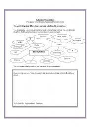 English Worksheets: Individual Presentation Mind Map