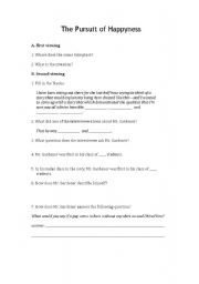 English Worksheet: The Pursuit of Happyness (sic)