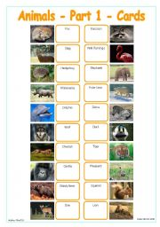 English Worksheets: Animals - Part 1 - Cards