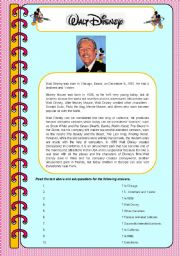 English Worksheet: Walt Disney biography (asking questions)